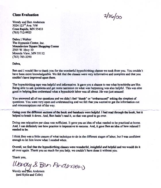 HypnoBirthing letter from Anderson